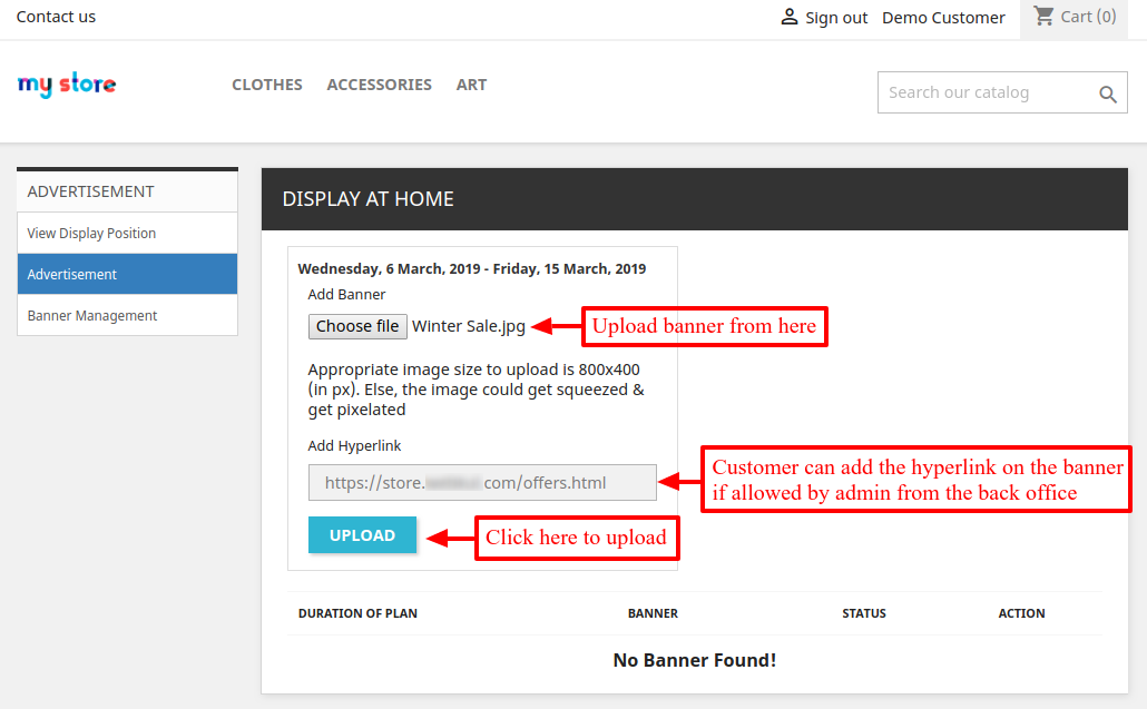 select banner and add hyperlink