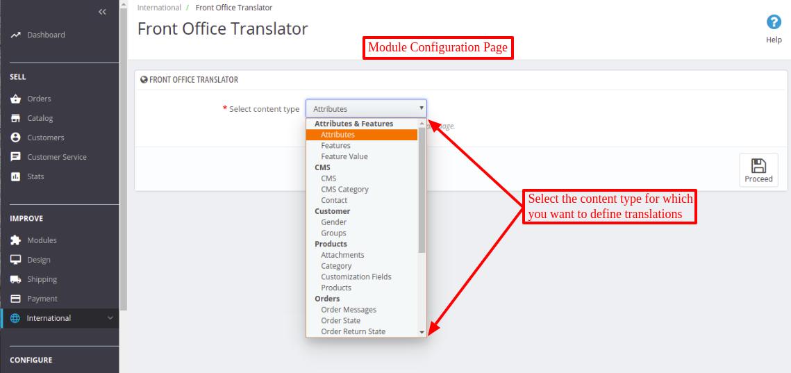 Prestashop Front Office Translator module configuration