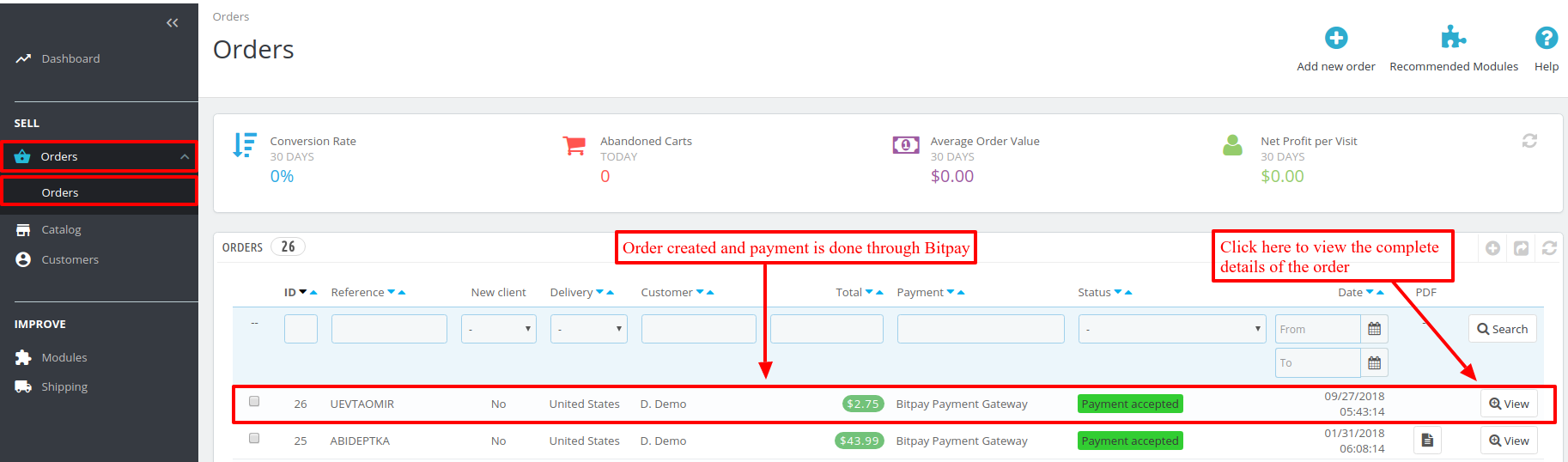 orders placed using Prestashop Bitpay Payment Gateway