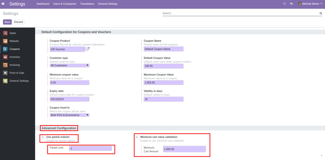 Configuration settings for Odoo Coupons 2