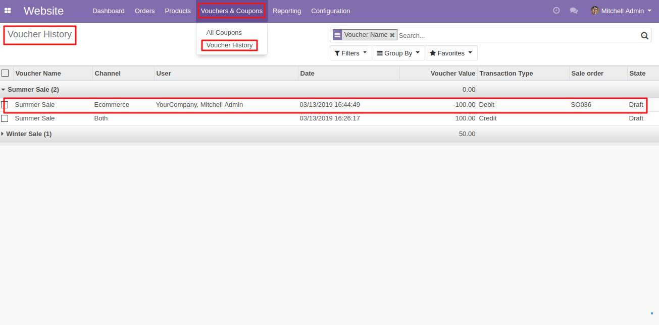 Coupon redemption history in Odoo 1