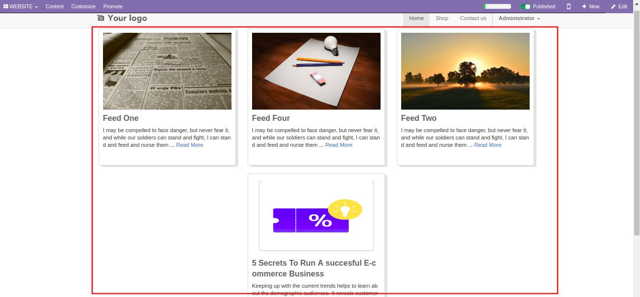 display News Feed On Odoo Website Page 3