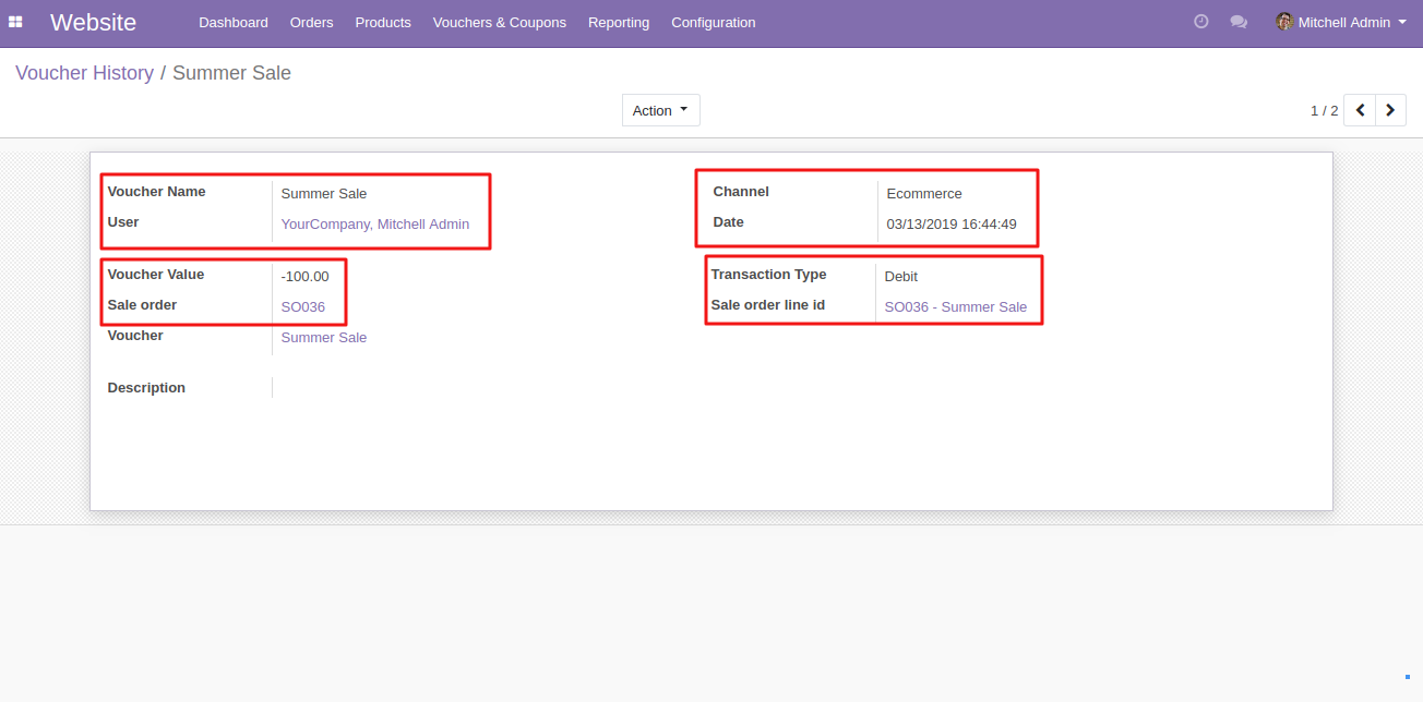 Coupon redemption history in Odoo 2