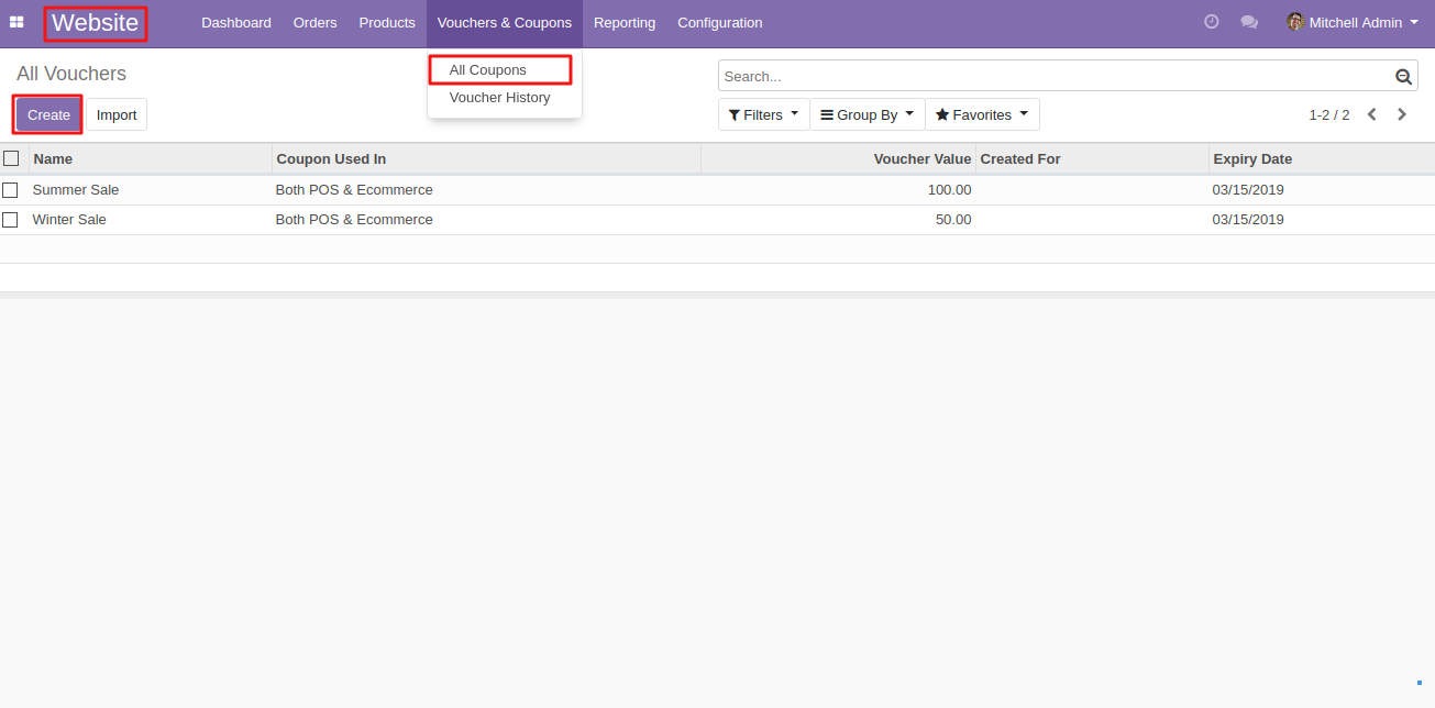 Create coupons in Odoo 1
