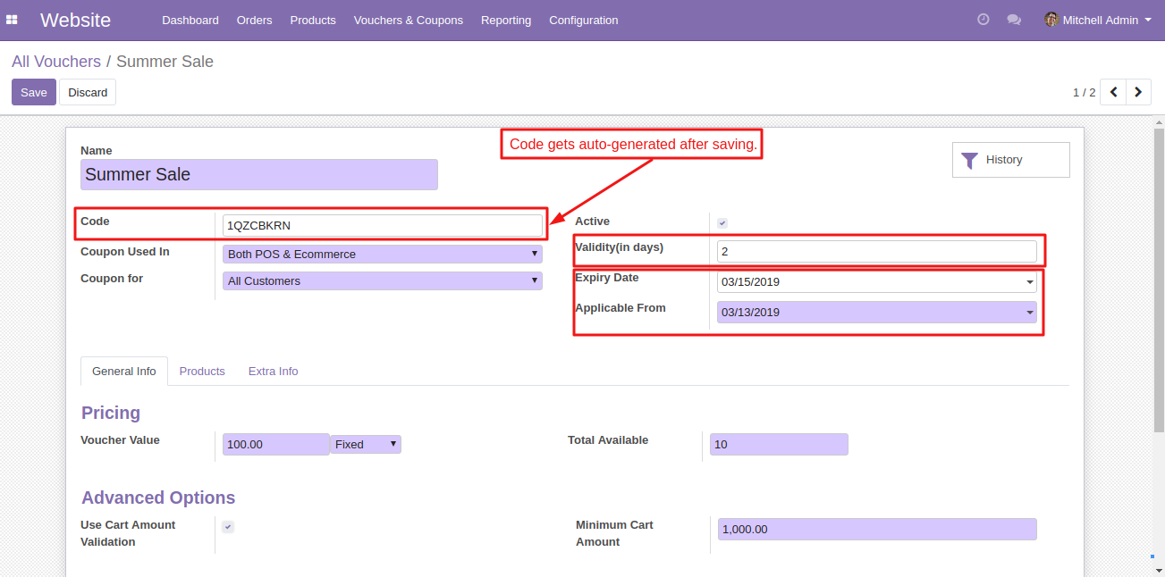 Create coupons in Odoo 2