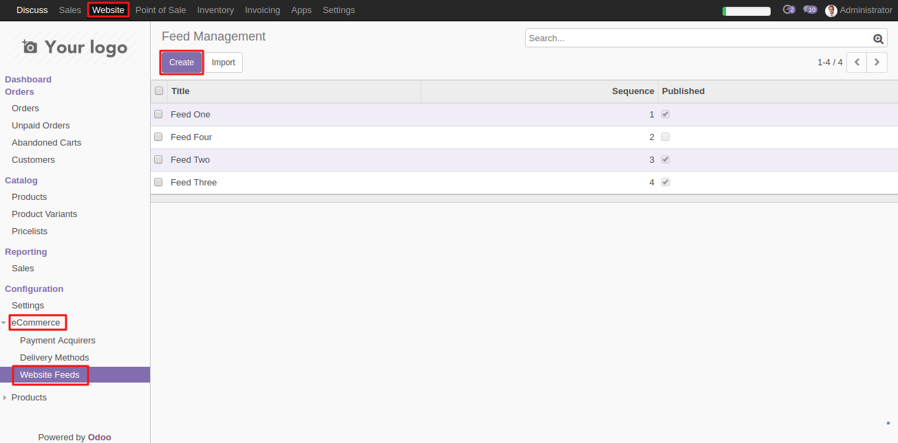 Configuring Website News Feed template in Odoo 1