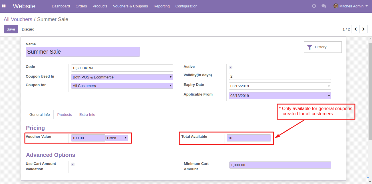 Create coupons in Odoo 4