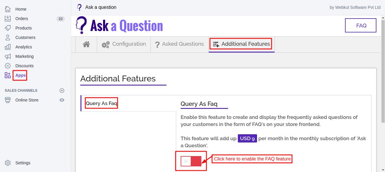 FAQ feature