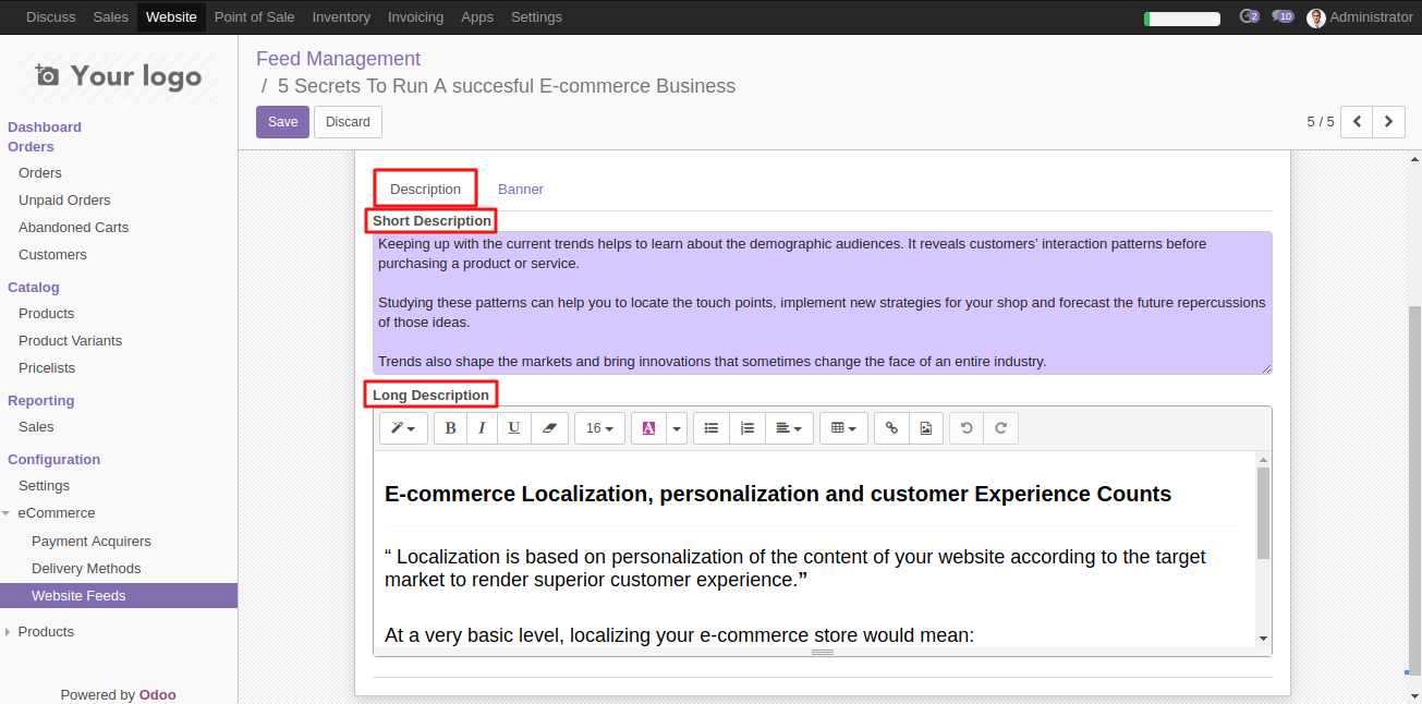 Configuring Website News Feed template in Odoo 3