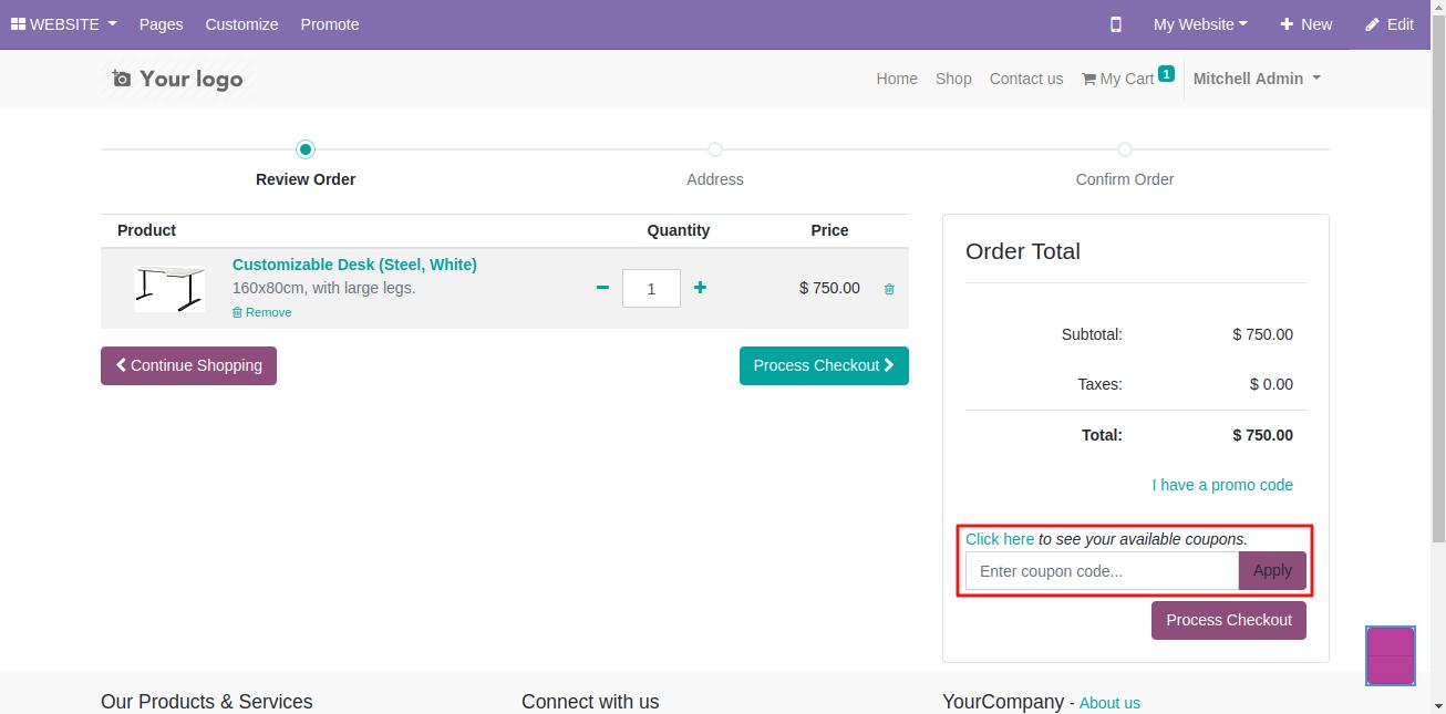 applying coupon on Odoo website 1