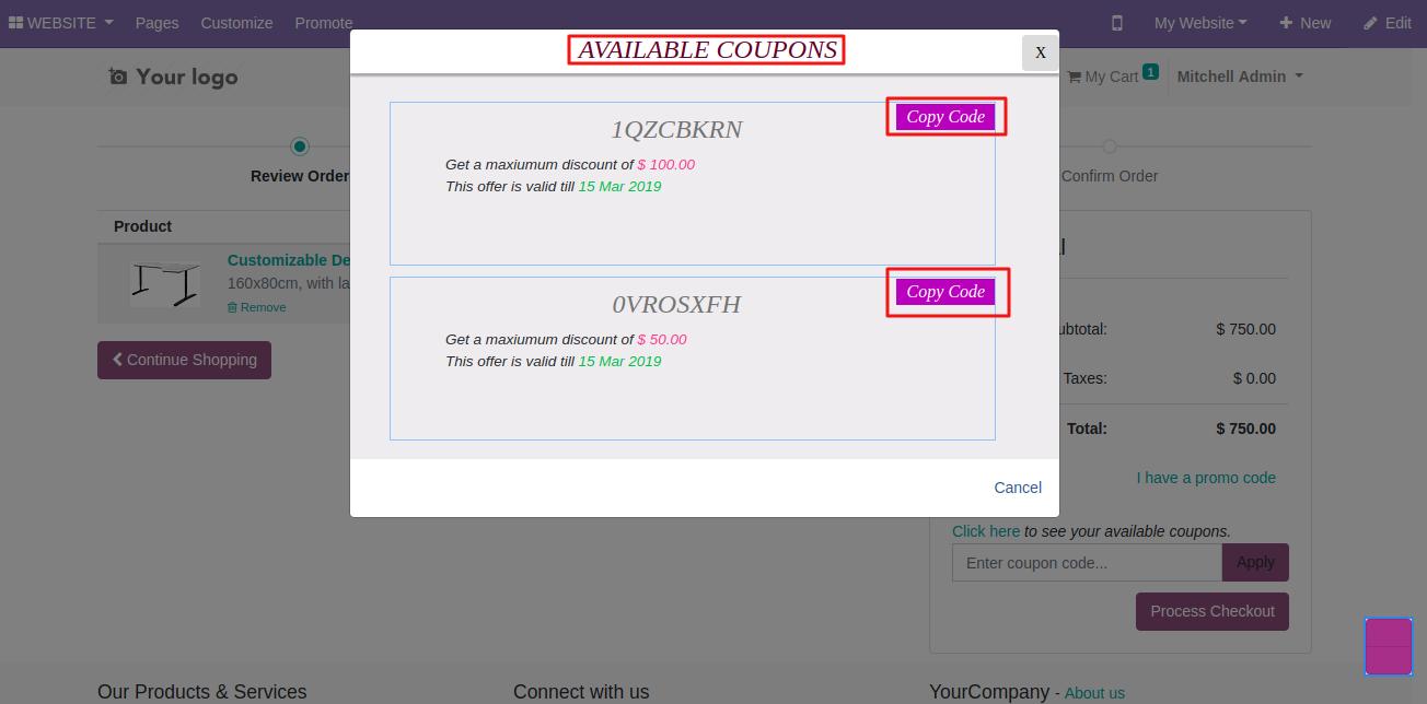applying coupon on Odoo website 2