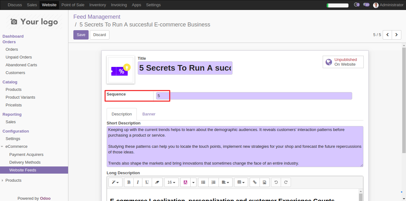 Configuring Website News Feed template in Odoo 4