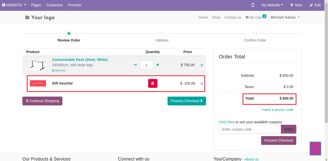 applying coupon on Odoo website 3