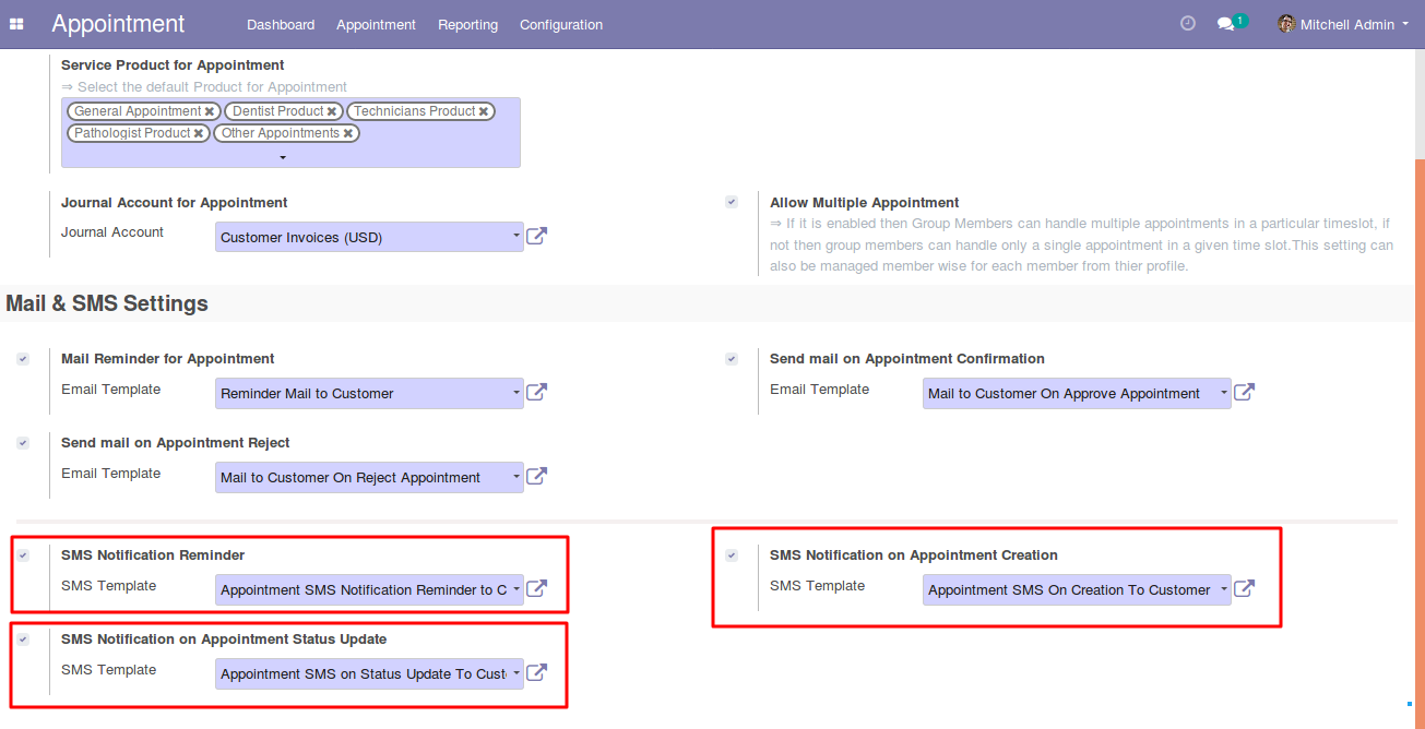 settings appointment notifications in Odoo 2