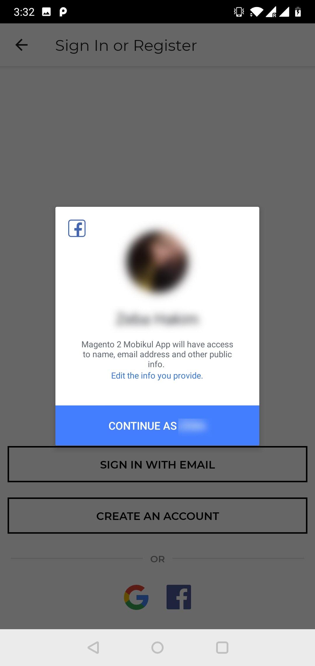 social login facebook