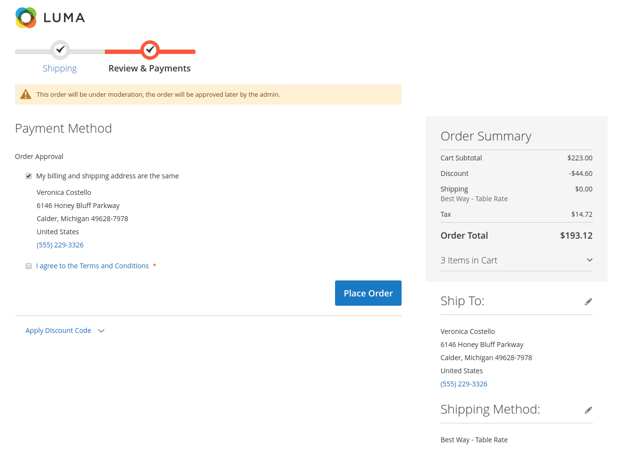 webkul-magento2-order-approval-rules-checkout-page