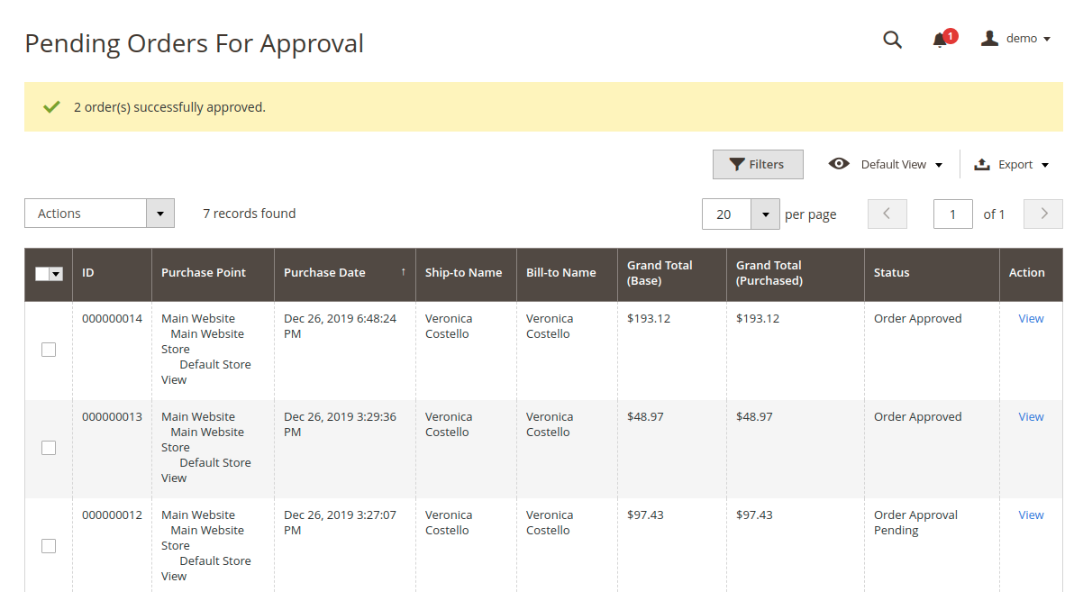 webkul-magento2-order-approval-rules-orders-approved