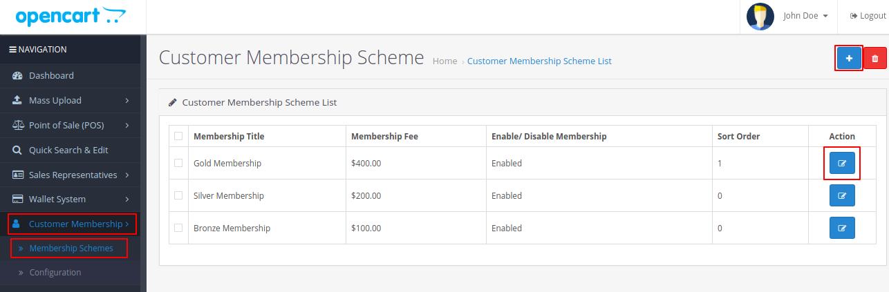 opencart customer membership
