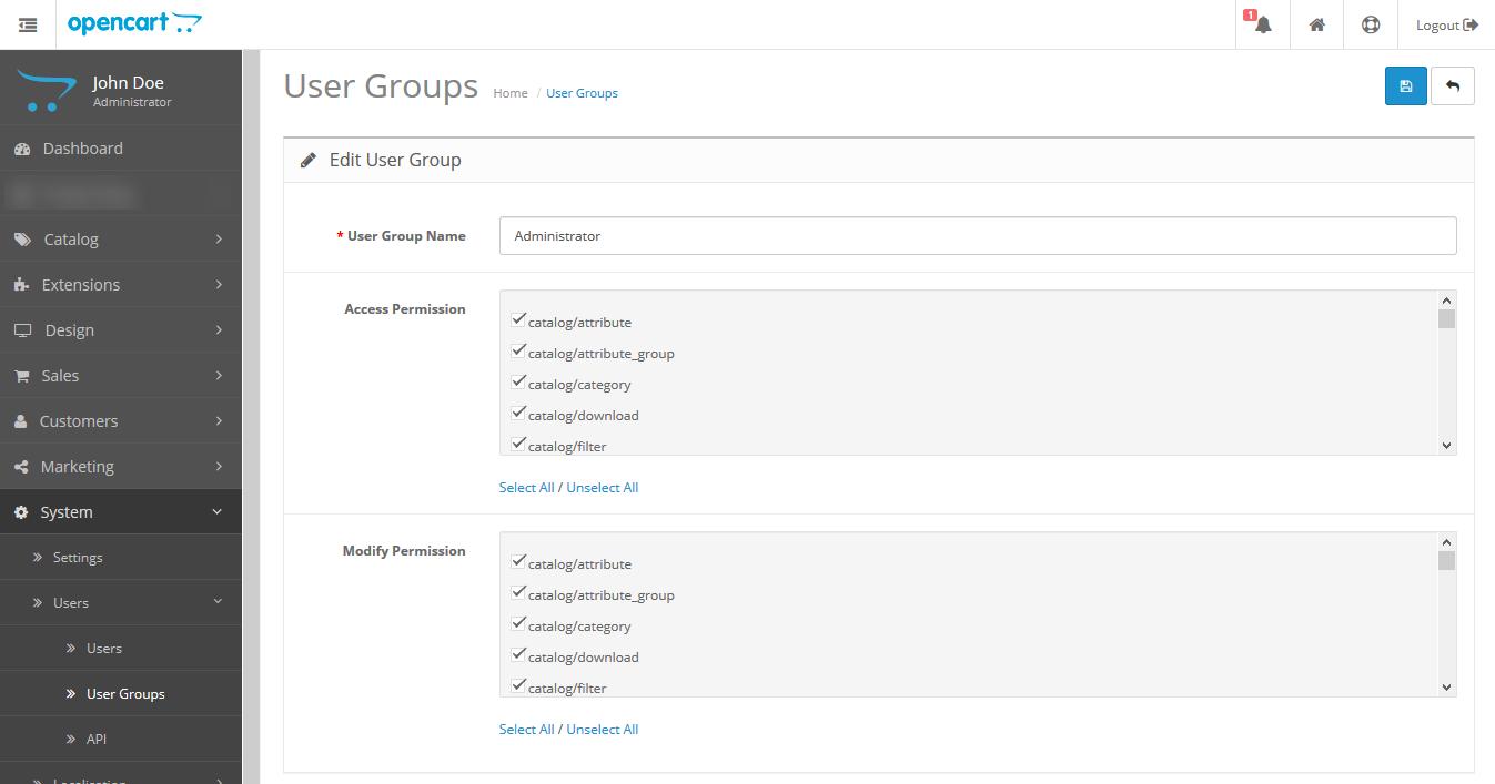 OpenCart Price Alert Edit User Group