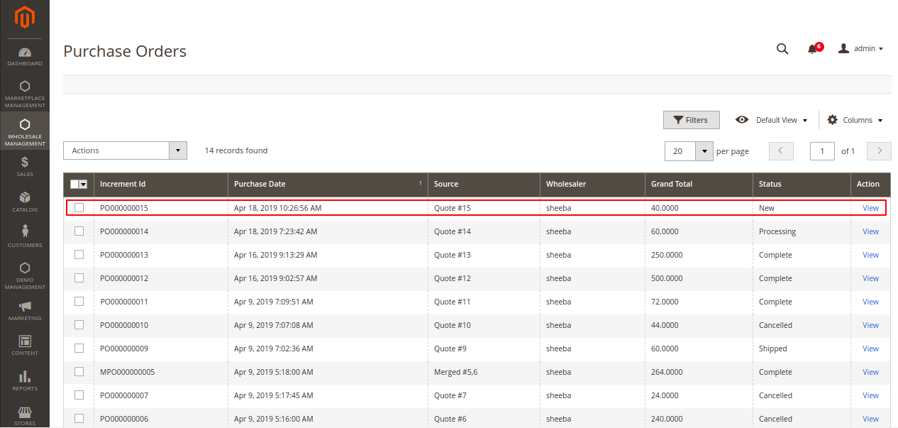 Admin Purchase order Magento View -6