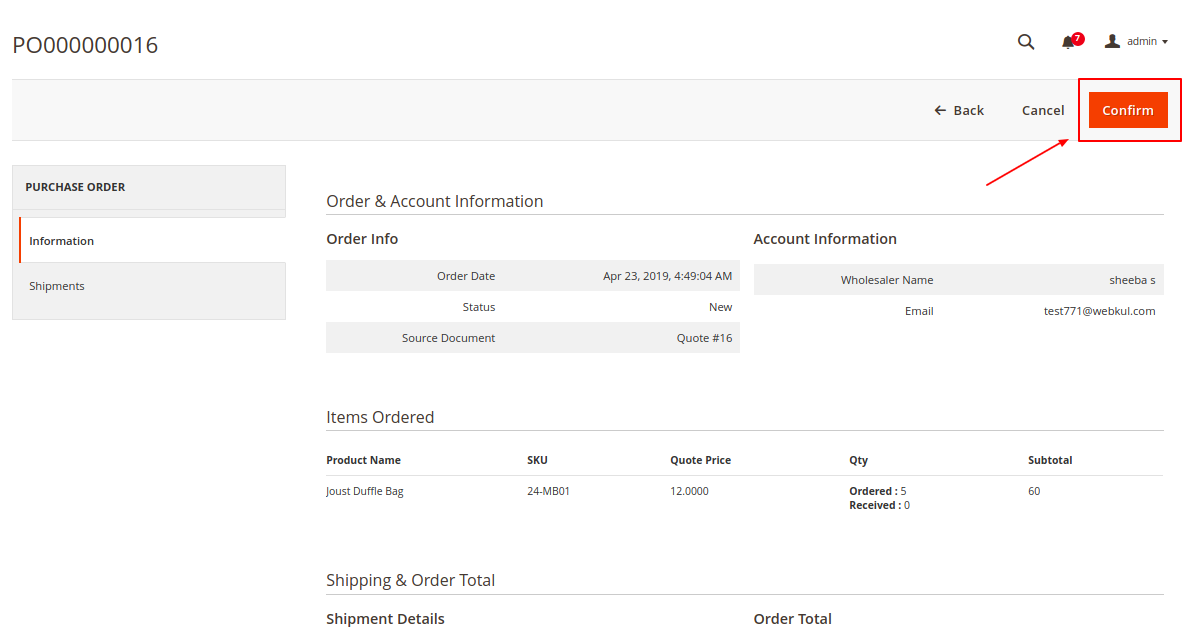 Magento 2 purchase order Admin approval confirmation