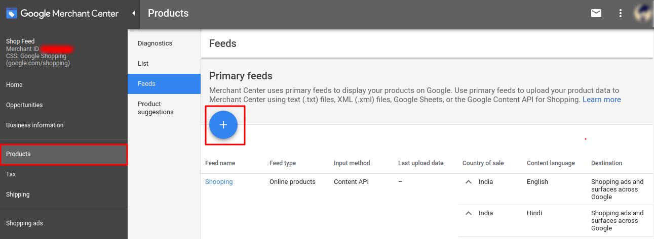 Google shopping feeds center