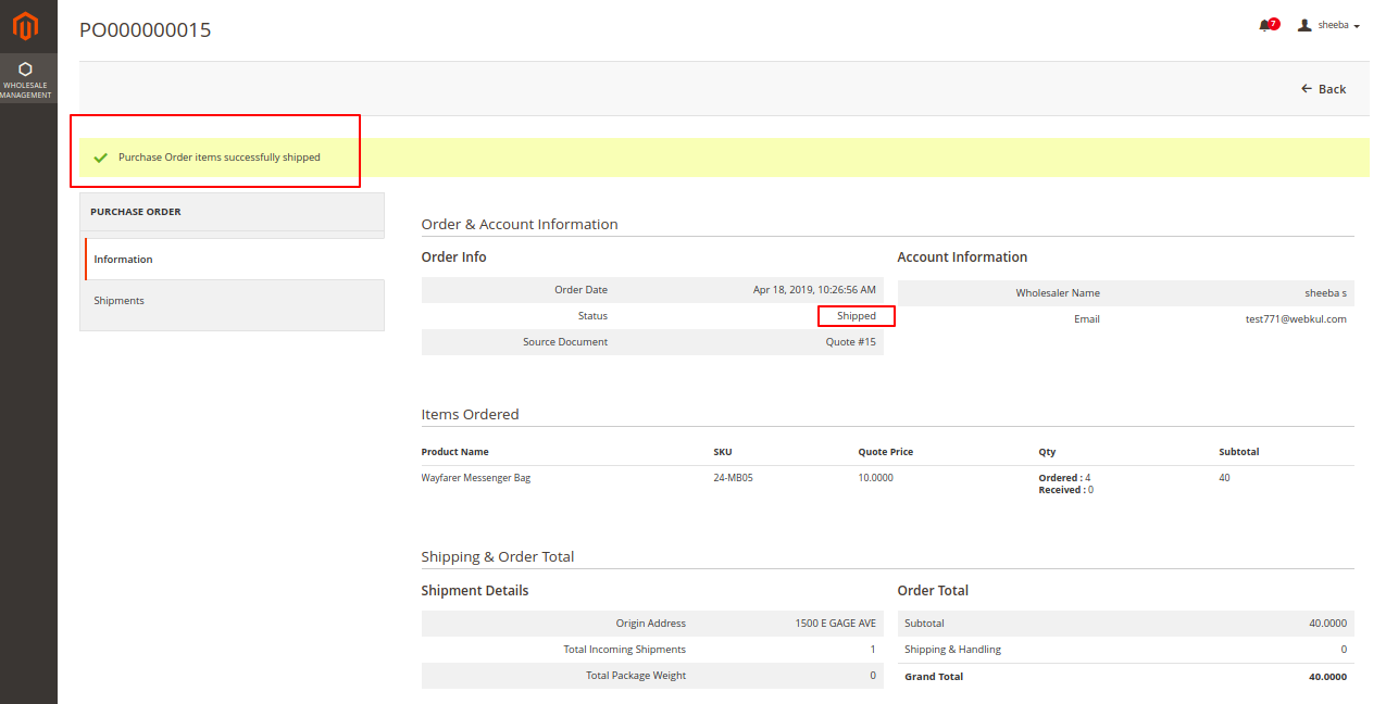 Magento 2 purchase order Purchase Order Wholesaler Item shipped 11