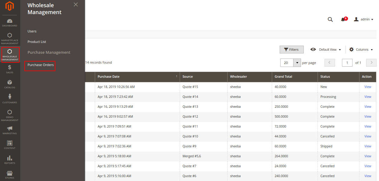 Magento 2 purchase order Purchase Orders Magento Admin-5