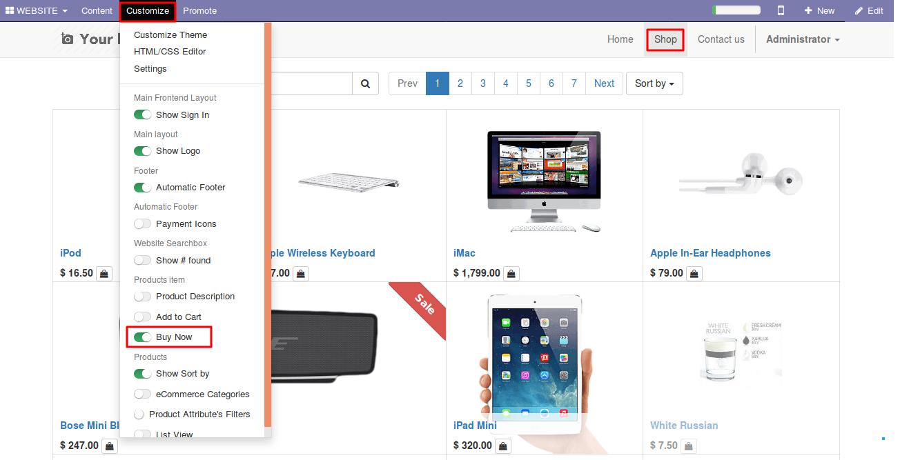 Enabling Buy Now option in Odoo website 1