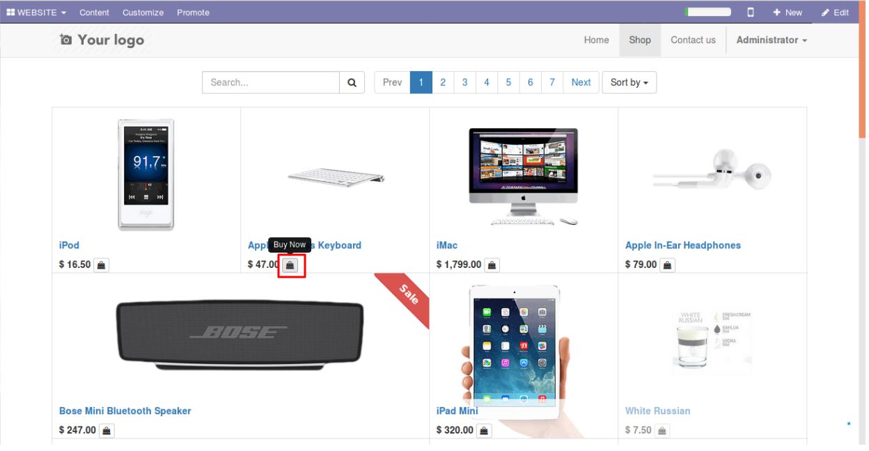 Enabling Buy Now option in Odoo website 2