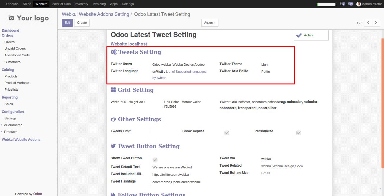 Integrating Twitter user handles with Odoo Website 2