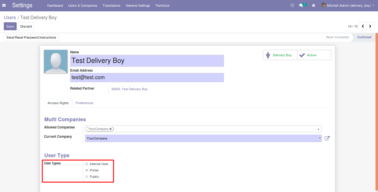 creating Delivery Boy in Odoo