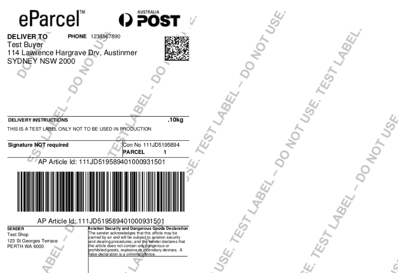 shipping label generation -Multi-vendor Australia Post