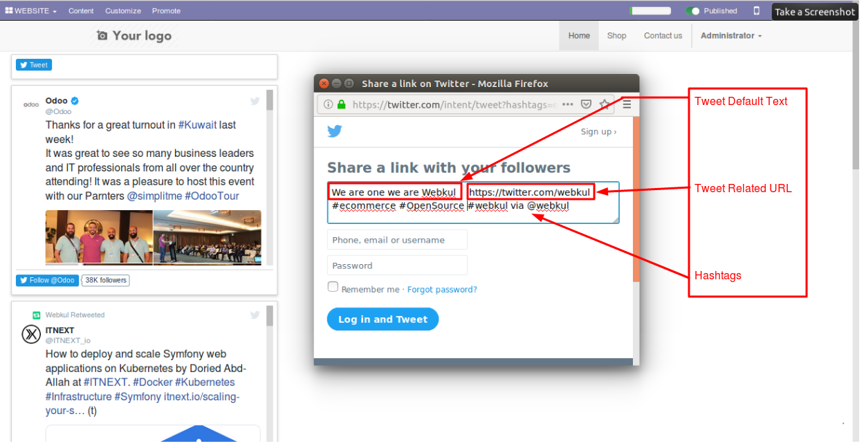 Integrating Twitter account with Odoo website 4