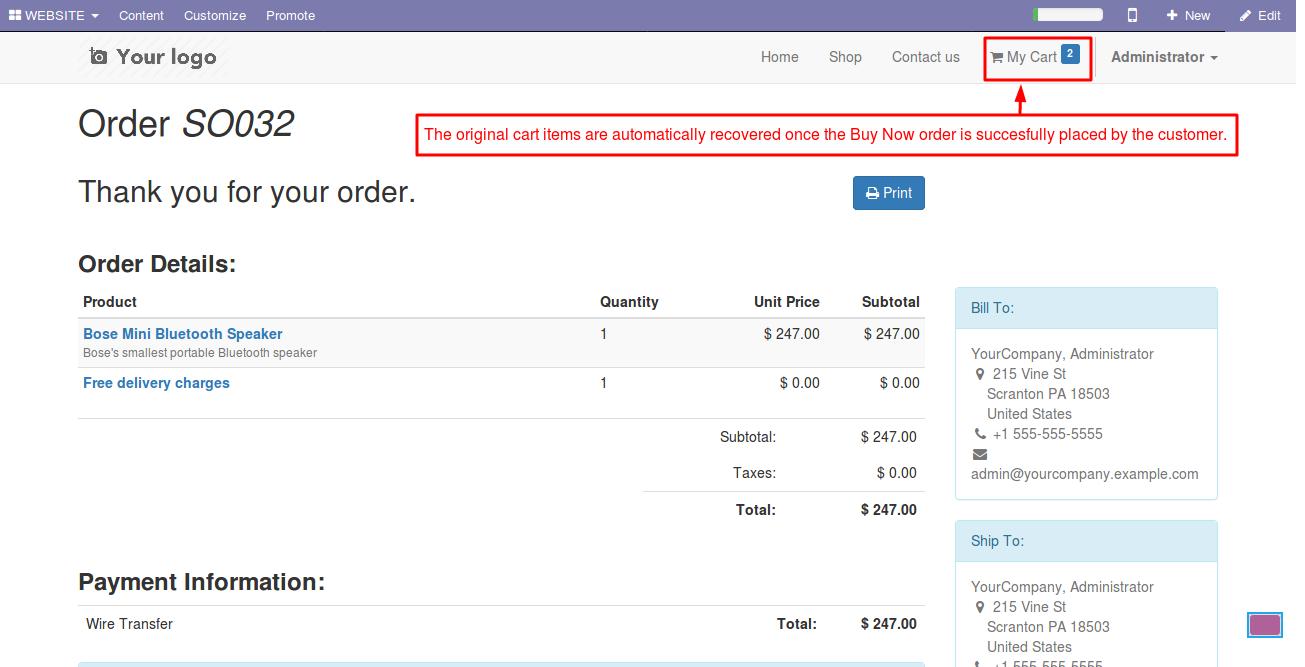 Enabling Buy Now option in Odoo website 6