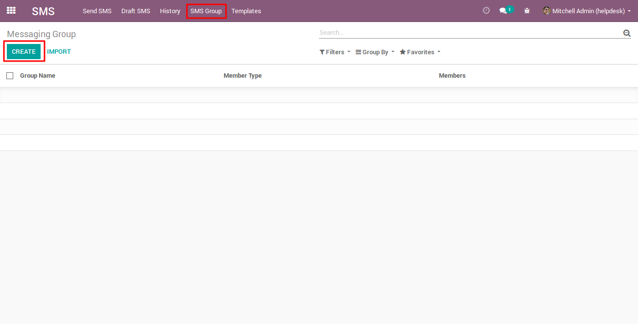 creating SMS Group in Odoo 1