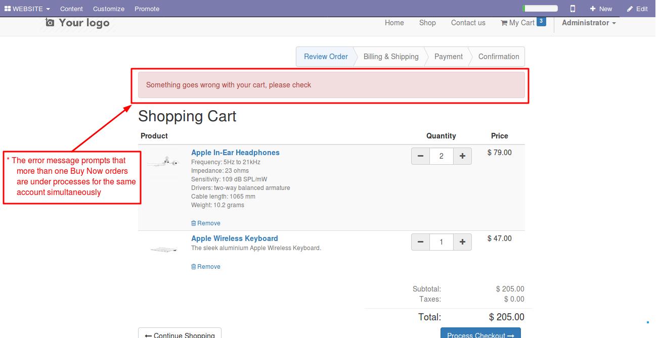 Enabling Buy Now option in Odoo website 7