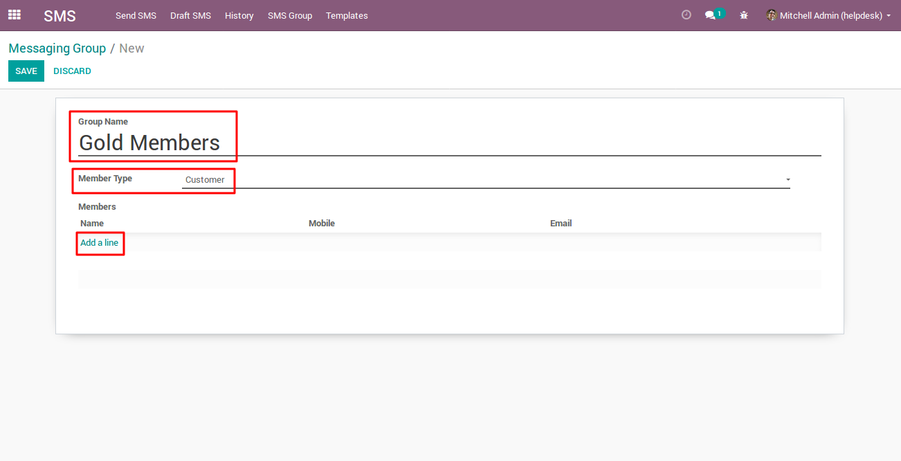 creating SMS Group in Odoo 2