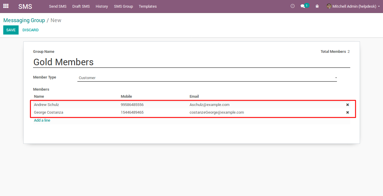 creating SMS Group in Odoo 3