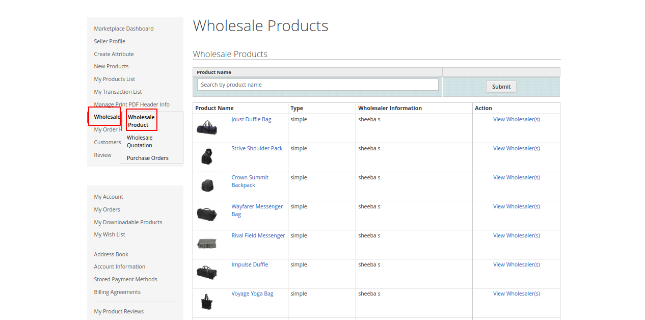 Magento 2 purchase order Seller front wholesale product