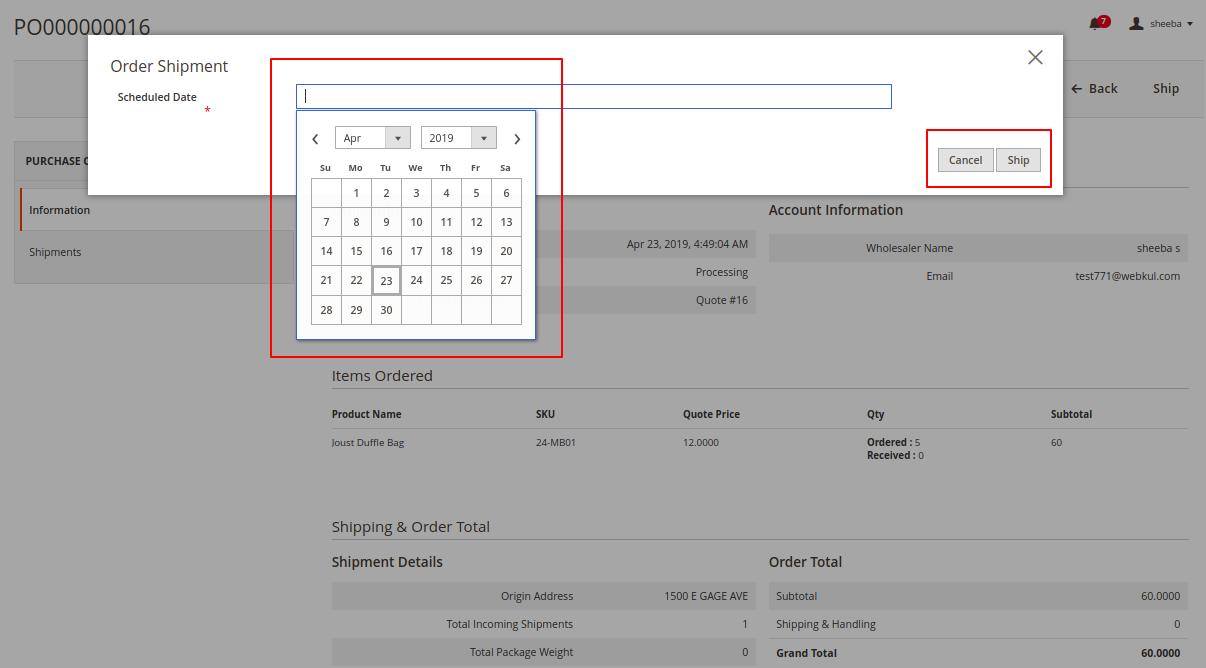 Magento 2 purchase order Wholesaler Order Shipment 10
