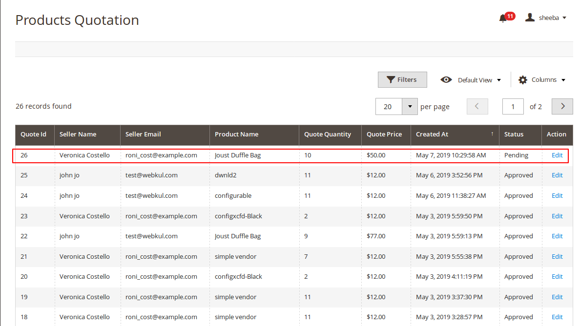 Magento 2 purchase order Wholesaler Products quotation list
