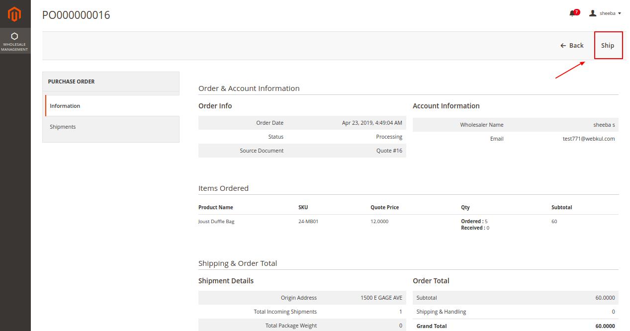 Magento 2 purchase order Wholesaler Purchase Order Ship 9