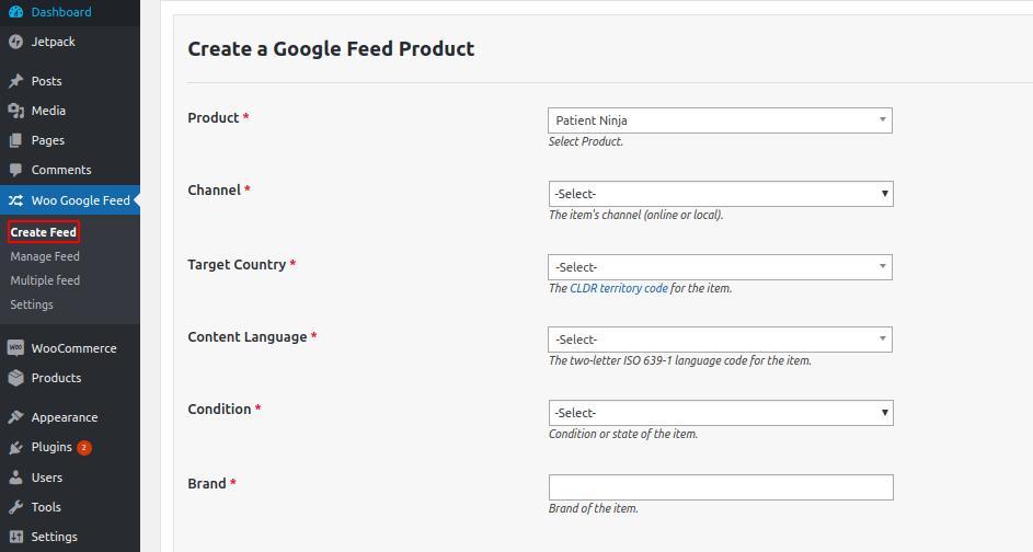 Woo Google Shopping Feed create feed