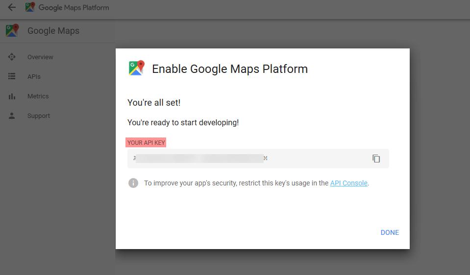 Google Maps API Key Generated