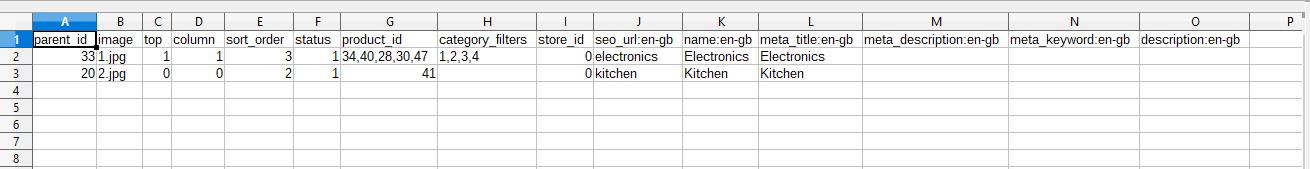 opencart bulk category upload