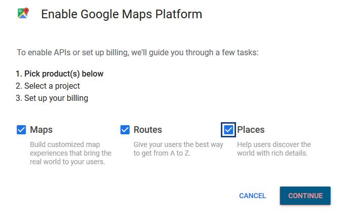 Enable Google Maps Platform