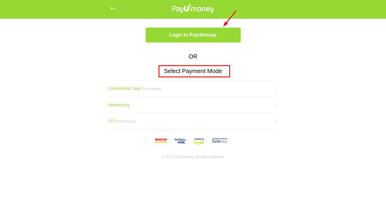 select payment mode