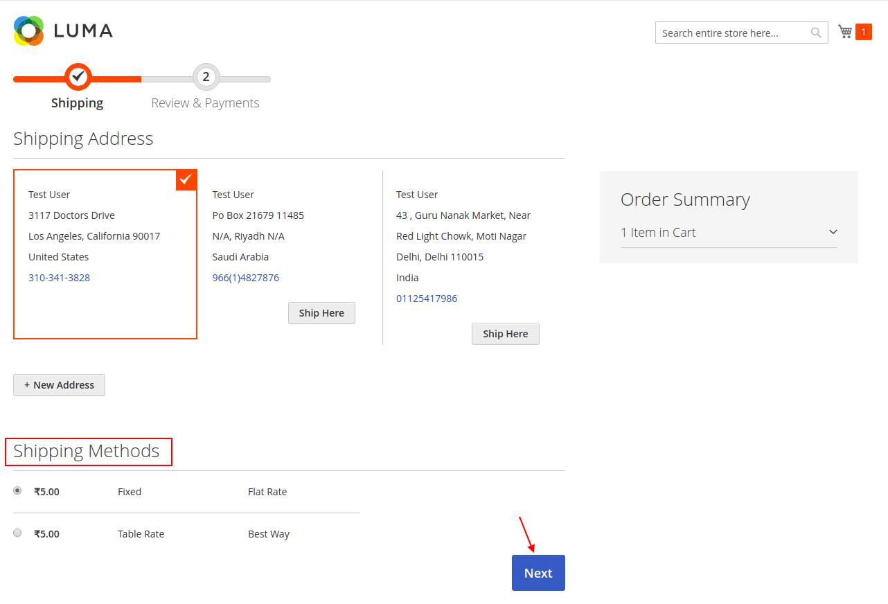 select shipping address usa