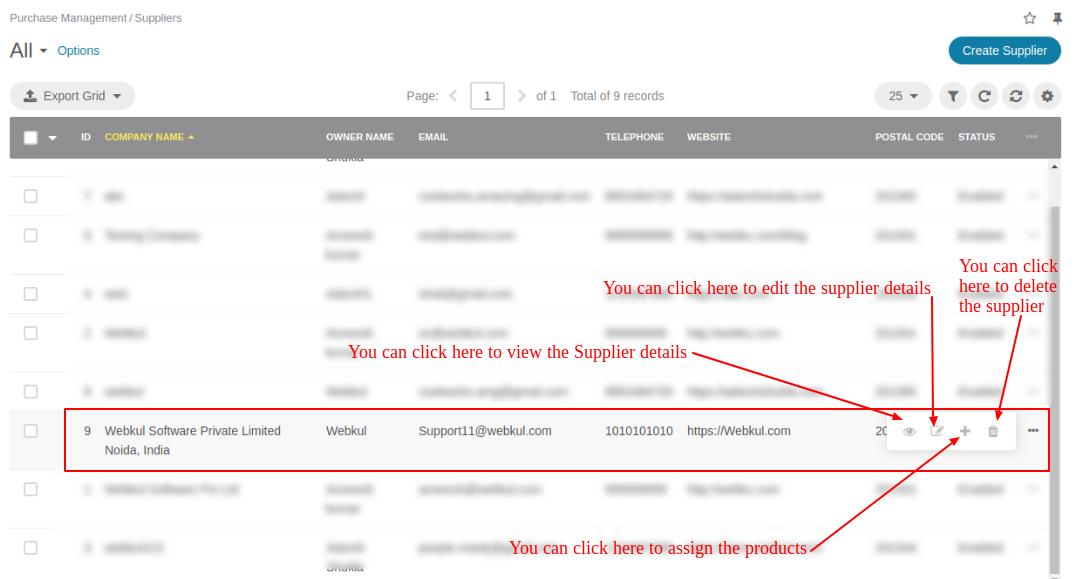 More Supplier managing details